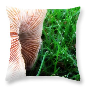 Mushroom And Dewdrops Throw Pillow by Katie Wing Vigil