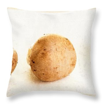 Mushroom Trio Throw Pillow by Edward Fielding