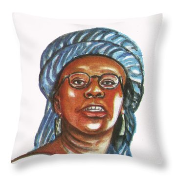 Musimbi Kanyoro Throw Pillow by Emmanuel Baliyanga