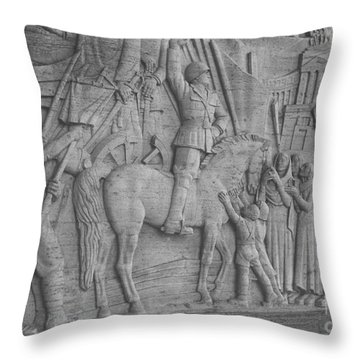 Mussolini, Haut-relief Throw Pillow by Photo Researchers