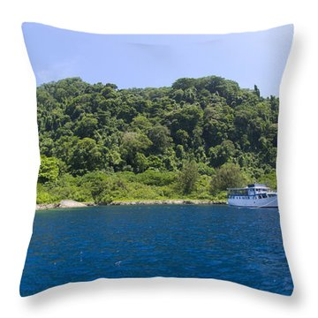 Mv Spirit Of Solomons Moored In Front Throw Pillow by Steve Jones