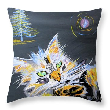 My Calico Cat Wizard Throw Pillow by Phyllis Kaltenbach