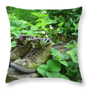 Throw Pillow featuring the photograph My Favorite Boots by Nancy Patterson