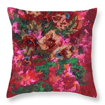 Throw Pillow featuring the painting My Sister's Garden I by Alys Caviness-Gober