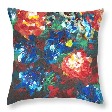Throw Pillow featuring the painting My Sister's Garden II by Alys Caviness-Gober
