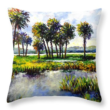 Throw Pillow featuring the painting Myakka Lake by Lou Ann Bagnall