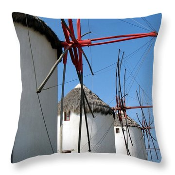 Mykonos Windmills Throw Pillow by Carla Parris