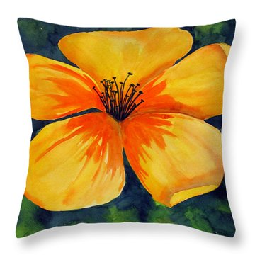 Mysterious Yellow Flower Throw Pillow by Debi Singer
