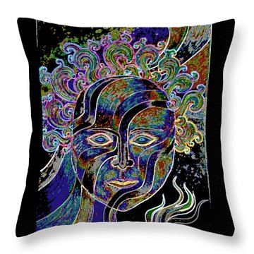 Throw Pillow featuring the drawing Mythic Mask by Nareeta Martin