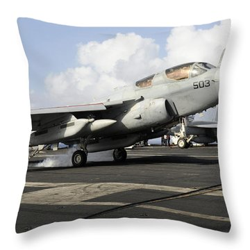 N Ea-6b Prowler Makes An Arrested Throw Pillow by Stocktrek Images