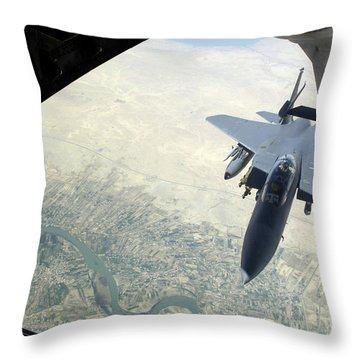 N F-15e Strike Eagle Receives Fuel Throw Pillow by Stocktrek Images