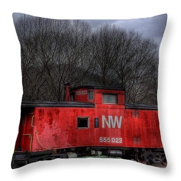 N W Caboose Throw Pillow by Todd Hostetter