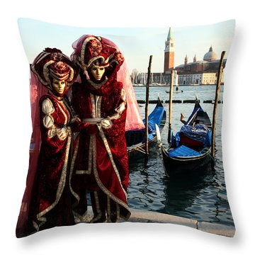 Throw Pillow featuring the photograph Nadine And Daniel Across San Giorgio by Donna Corless