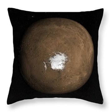 Nadir View Of The Martian South Pole Throw Pillow by Stocktrek Images