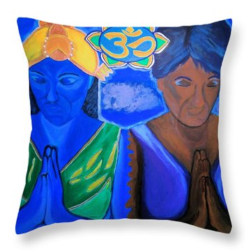 Throw Pillow featuring the painting Namaste-we Are One by Lisa Brandel