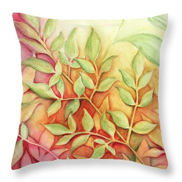 Nandina Leaves Throw Pillow by Carla Parris