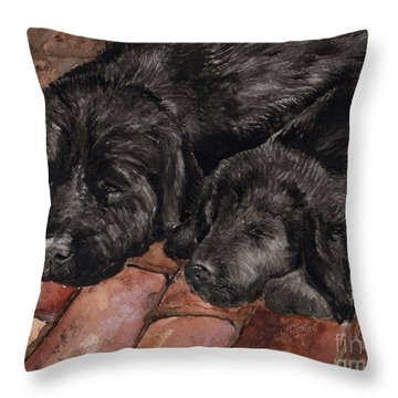 Throw Pillow featuring the painting Nap Time by Nancy Patterson