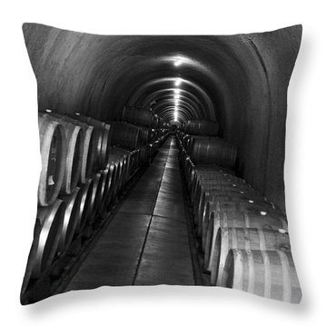 Throw Pillow featuring the photograph Napa Wine Barrels In Cellar by Shane Kelly