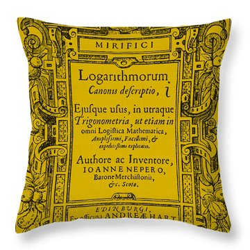 Napiers Treatise On Logarithms Throw Pillow by Photo Researchers