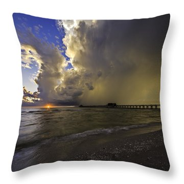 Naples Pier Storm Sunset Throw Pillow