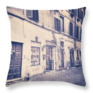 narrow street in Rome Throw Pillow by Joana Kruse