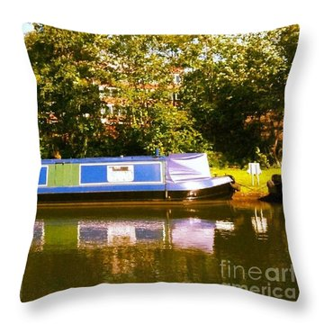 Narrowboat In Blue Throw Pillow by Isabella F Abbie Shores FRSA