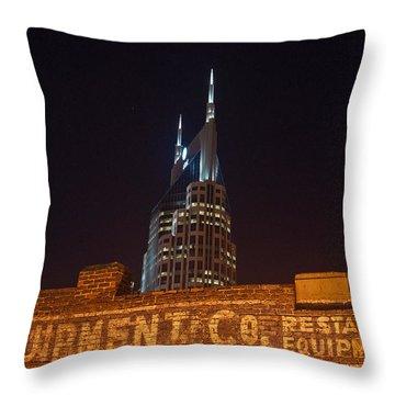 Nashville Downtown Night Scene Throw Pillow by Douglas Barnett