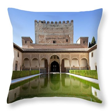 Nasrid Palace From Fish Pond Throw Pillow by Jane Rix