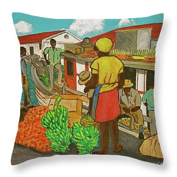 Nassau Fruit Boat Throw Pillow by Frank Hunter