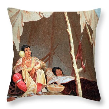 Native American Indian Medicine Man Throw Pillow by Science Source