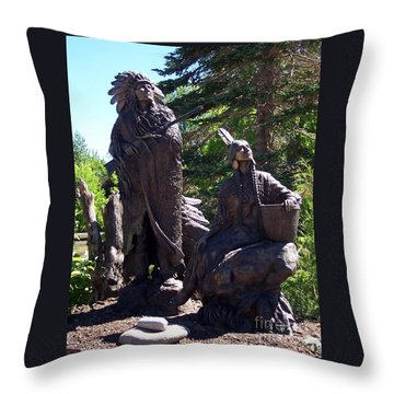 Throw Pillow featuring the photograph Native American Statue by Chalet Roome-Rigdon