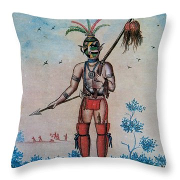 Native American With Scalps Mid-18th C Throw Pillow by Photo Researchers