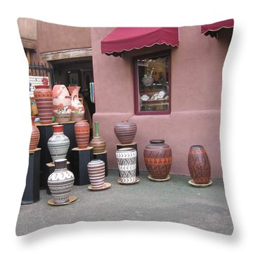 Throw Pillow featuring the photograph Native Jars And Vases Market by Dora Sofia Caputo Photographic Art and Design