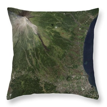Natural-color Image Of The Mayon Throw Pillow by Stocktrek Images