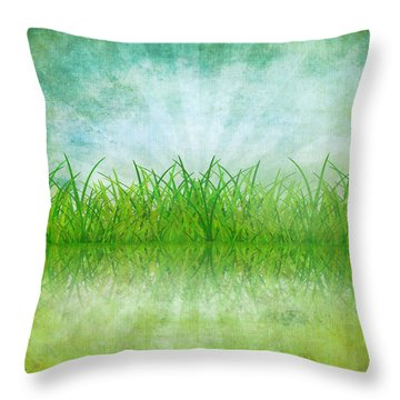 Nature And Grass On Paper Throw Pillow by Setsiri Silapasuwanchai