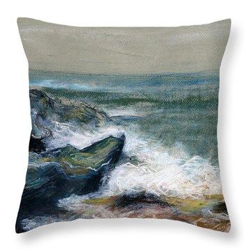 Nature Beach Landscape Of Sea In Storm Blue Green Water White Wave Breaks On Rock Clouds In Sky  Throw Pillow by Rachel Hershkovitz