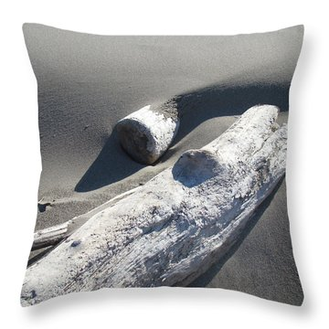 Nature Coastal Art Prints Driftwood Sand Dunes Throw Pillow by Baslee Troutman