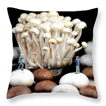 Nature Photographers Shooting Adventure Throw Pillow by Paul Ge
