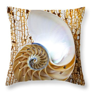 Nautilus Shell On Rusty Table Throw Pillow by Garry Gay