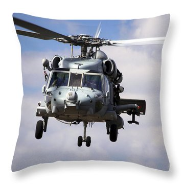 Navy Pilots In A Sh-60f Seahawk Conduct Throw Pillow by Michael Wood