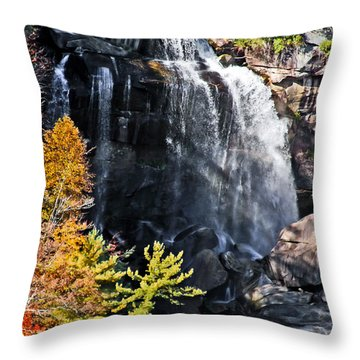 Nc Waterfalls Throw Pillow by Ronald Lutz