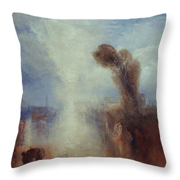 Neapolitan Fisher-girls Surprised Bathing By Moonlight Throw Pillow by Joseph Mallord William Turner