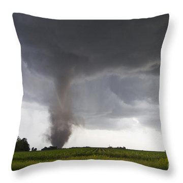 Nebraska Tornado Throw Pillow by Mike Hollingshead and Photo Researchers