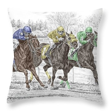 Throw Pillow featuring the drawing Neck And Neck - Horse Race Print Color Tinted by Kelli Swan