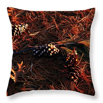 Needles Cones And Oak Leaf Throw Pillow by Larry Ricker