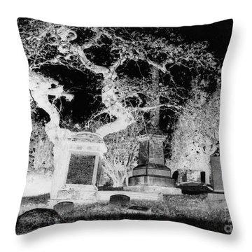 Negative Image Of Cemetary Throw Pillow by JSM Fine Arts John Malone