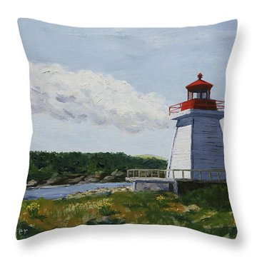 Neil's Harbor Light Throw Pillow by Alan Mager