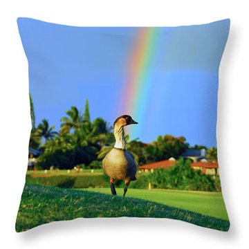 Throw Pillow featuring the photograph Nene At The End Of The Rainbow by Lynn Bauer