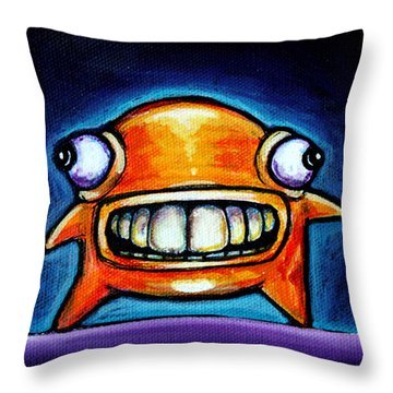 Neon Glob Throw Pillow by Leanne Wilkes