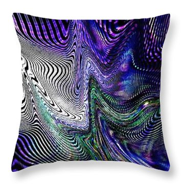 Throw Pillow featuring the digital art Neon Zebra by Greg Moores